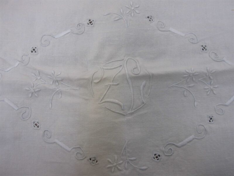 """ANTIQUE HEAVY HOME SPUN LINEN BED SHEET w EMBROIDERED MONOGRAM """"ZL"""" 92""""x 106"""""""