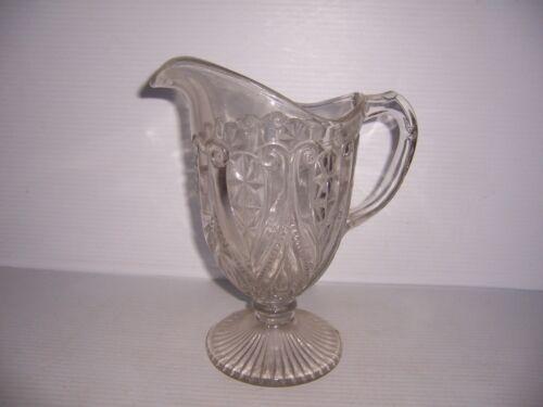Antique Clear Glass Pedestal Pitcher