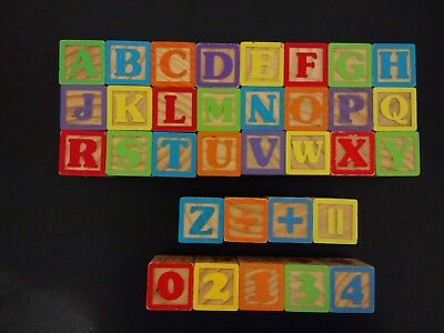Vintage Wood Letter Blocks Lot of 33 Alphabet ABCs Numbers Pictures