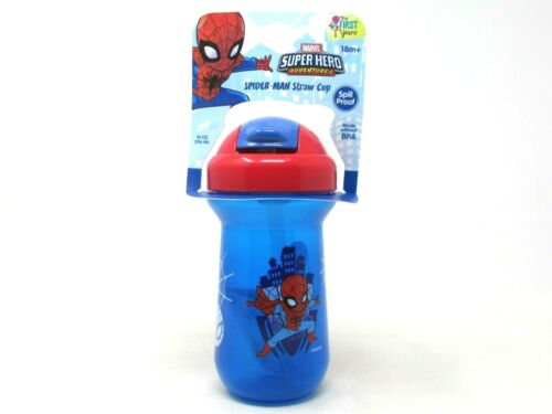 The First Years Marvel Spider-Man Straw Cup 10oz Spill Proof Blue 18 M+ BPA Free