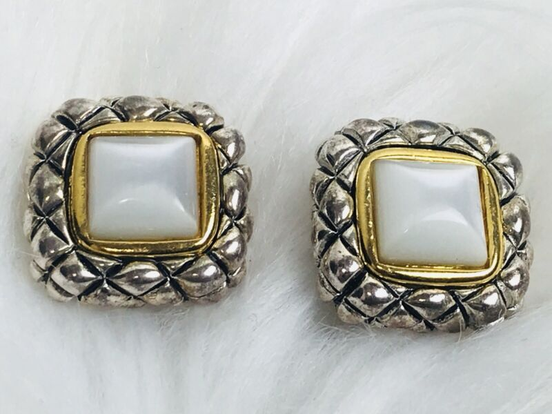 VINTAGE Silver / Gold Tone Pearlescent SQUARE Jewels CLIP Earrings Ear Rings