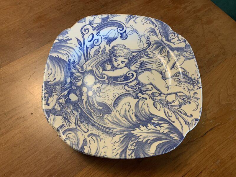 Spode Floral Toile Blue Room Cherub Square Luncheon Plates, 6