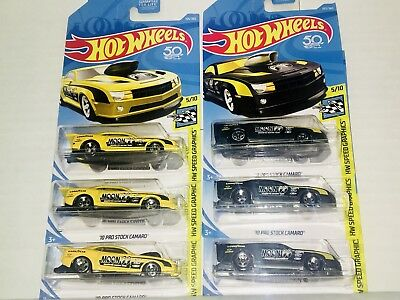 Set Of 6 Hot Wheels HW Speed Graphics '10 Pro Stock Camaro Yellow/Black Variant for sale  Shipping to Canada