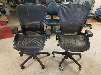 2 Herman Miller Aeron Office Chair Size C Lumbar Broken Seat Pans