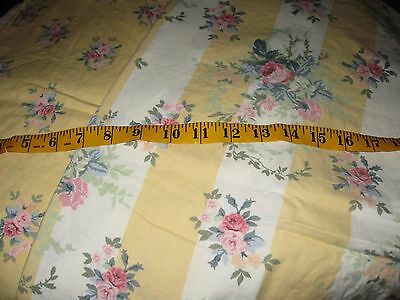 Decorator Weight Laura Ashley Fabric Yellow with Pink Roses