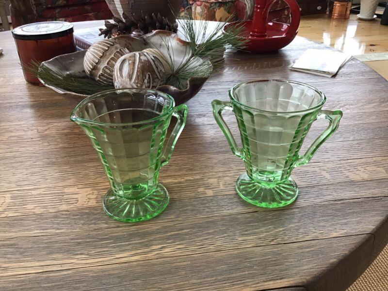 Vintage Anchor Hocking Green Vaseline Glass Block optic Sugar and Creamer