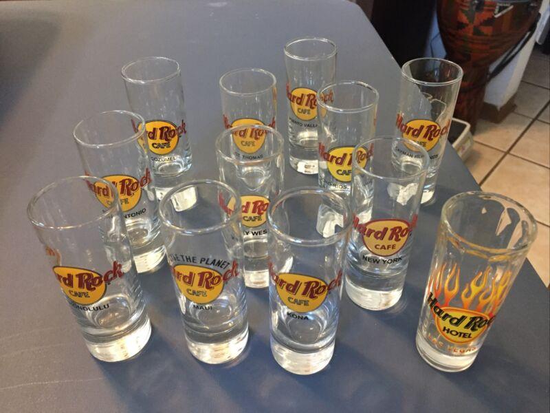 Lot Of 12 Hard Rock Cafe Shot Glasses - Includes, Kona, Maui, Honolulu