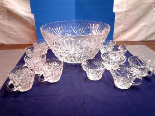 Vintage Punch Bowl and 11 Cups Anchor Hocking Arlington, Star of David Designs