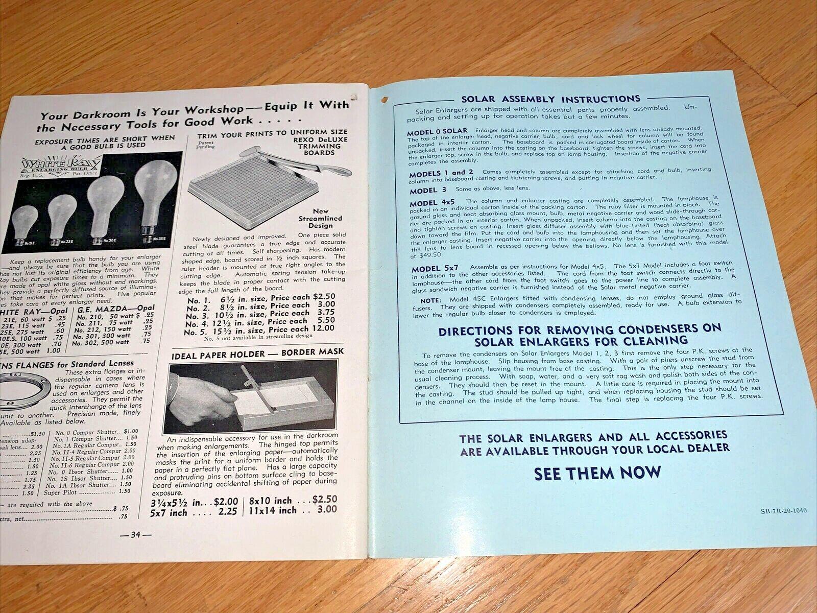 1940 BURKE JAMES - PHOTOGRAPHIC ENLARGING EQUIPMENT Brochure 34 Pages - $24.95