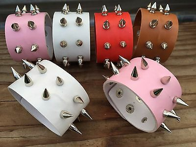 Metal Stud Spike Rivet Leather Bangle Cuff Bracelet Wristband (US - Spiked Bracelet