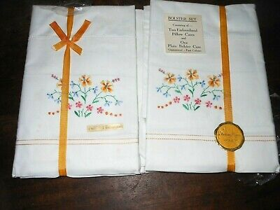 VINTAGE SET LABEL EMBROIDERY FLOWERS WHITE COTTON BOLSTER CASE PAIR PILLOWCASES