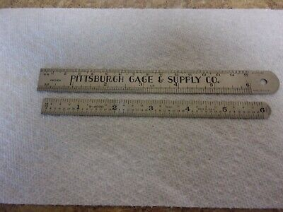 2 Vintage Machinist Rules Stainless Steel 1 Sears 1 Pittsburgh Gage Usa