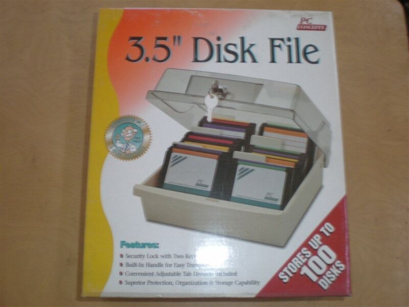 "3.5"" Disk Storage Box Data Case Holder Hold 100 Diskette Disc PC Tray File Locks"