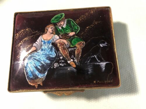 Hand Painted  METAL ENAMEL BOX REVERSE PAINTING SIGNED LOWER RIGHT - ESTATE