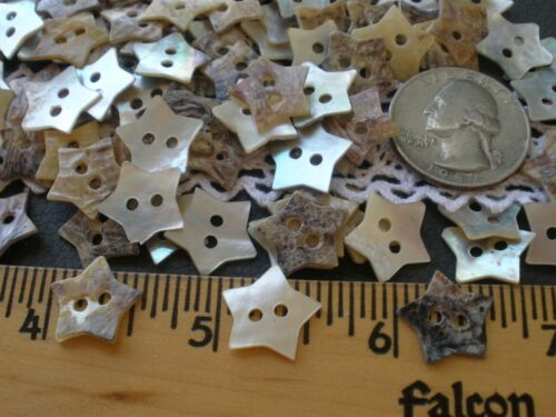 """50 REAL PEARL SHELL STAR SHAPE BUTTONS 14MM 22L 2-hole 7/16"""" MOP AGOYA"""