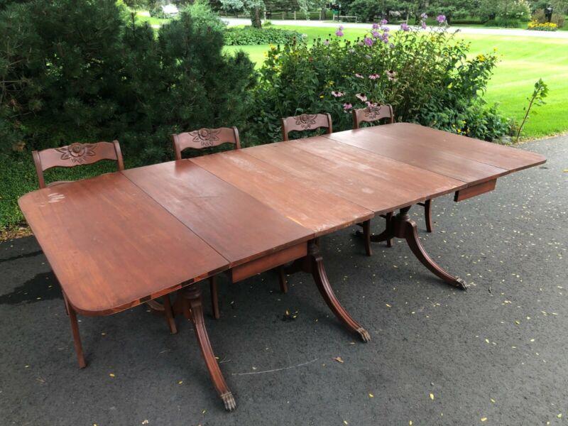 1930s Antique Duncan Phyfe Table & Chair Set