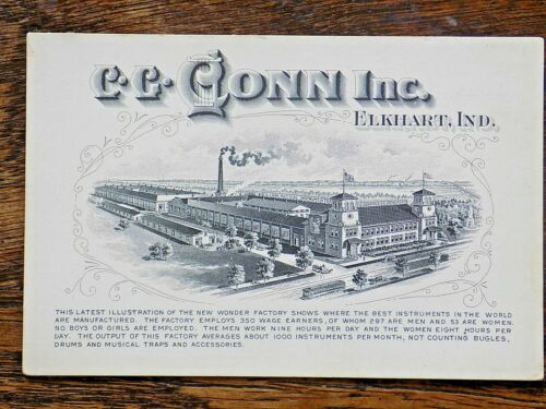 Antique Trade Card CG Conn Brass Trombone Trumpet Cornet Horn Elkhart USA Map