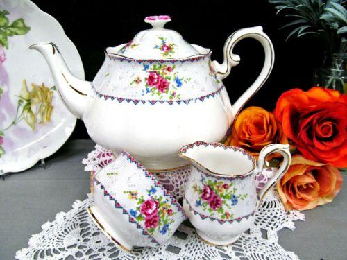 ROYAL ALBERT large teapot coffee pot Petit point pattern floral pink rose SET