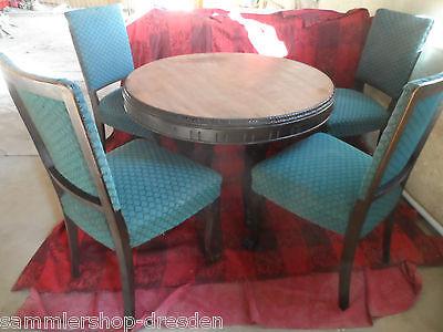 Tisch 4 Stühle Nußbaum Löwenfüße Herrenzimmer gut rund Tischgruppe 1920