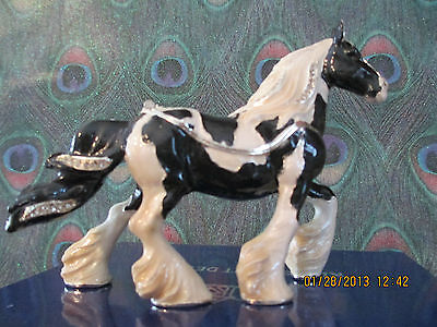 SUNDANCE  THE GYPSY VANNER HORSE ~  ENAMELED JEWEL BOX & NECKLACE #62639