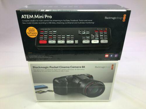 BLACKMAGIC DESIGN ATEM MINI PRO HDMI SWITCHER + POCKET 6K CAMERA BUNDLE