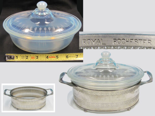 Art Deco Fry opalescent oven glass Royal Rochester metal holder WHEEL ENGRAVED