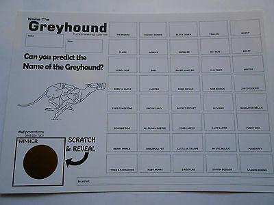 GREYHOUND SCRATCH CARDS (B&W - 40 SPACES- GREAT FUNDRAISER - SET OF 5 RAISE £100