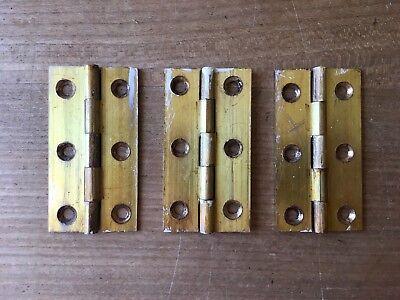 """Set Of 3"""" Hinges Solid Brass Door Antique Reclaimed Old Original Salvage"""