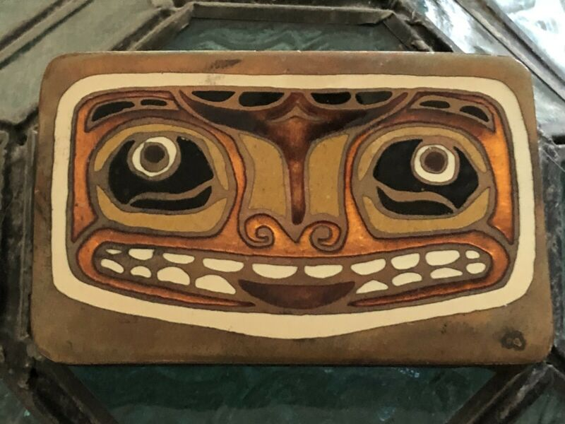 Vintage Pacific Northwest First American Solid Copper Enameled Belt Buckle