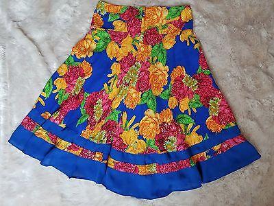( Women's Floral Skirt Size 6 A-Line Back Zip Blue/Red/Orange )