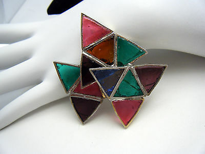 Rare Vintage DeNicola Patented Stained Glass Brooch Poured Colorful Panes on Lookza