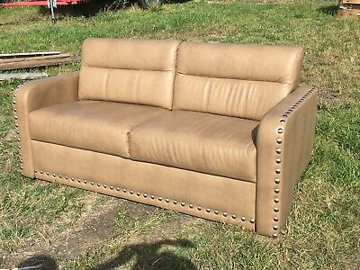 "2014 Villa International  Sofa 68"" Ultraleather boat RV motorhome couch Coffee"