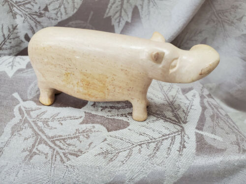 "Vintage House Hippo Carved Polished Stone Figurine Beautiful Neutral 5.75"" long"