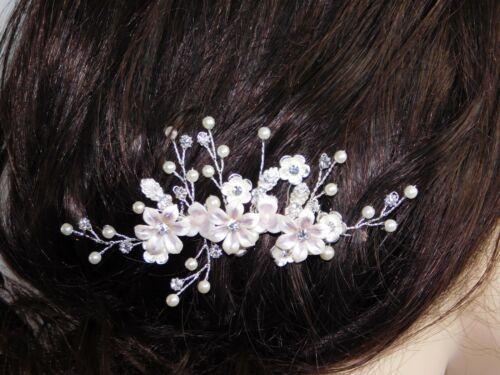 Hair Comb Porcelain Pink Roses Lilac, CZ & Pearl Bridal Hair Accessories /9358