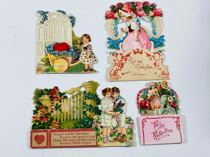 Antique vtg Valentines 10 Lot (4) German Embossed Diecut Cards girls boys