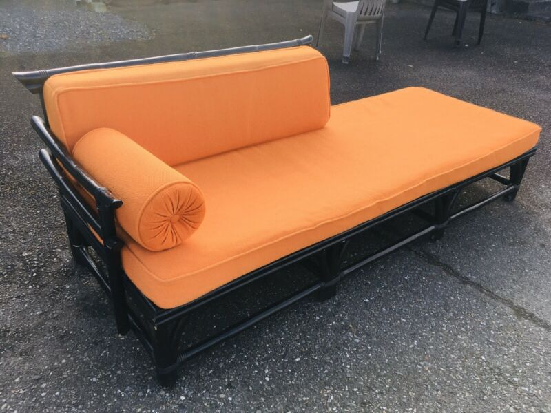 Vintage 1960s Rattan Bamboo Retro Chaise Sofa Couch Orange Modern Mid Century US