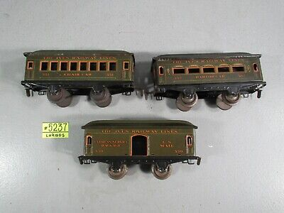 Ives Prewar  Passenger cars  #552 PARLOR CAR,551 CHAIR CAR &550 US MAIL CAR