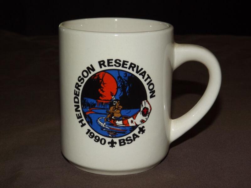 VINTAGE BSA BOY SCOUTS  COFFEE MUG 1990 HENDERSON RESERVATION