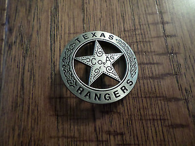 SILVER TEXAS RANGER COA SHERIFF WESTERN STYLE BADGE PIN BACK POLICE MARSHALL PIN
