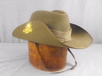 VINTAGE AUSTRALIAN MILITARY WWII SLOUCH HAT MARKED AUST-CARR SIZE 7