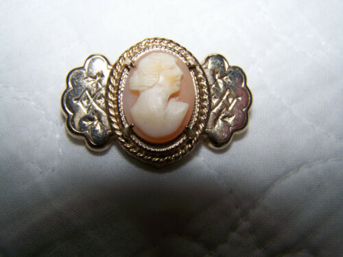 Vintage Antique Real Shell Cameo Goldtone Metal Pin - Nice! - 11-16