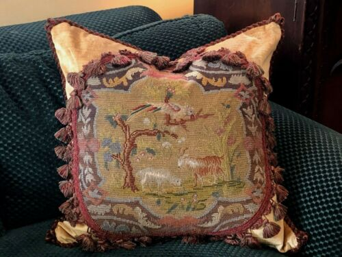 CHARMING ANTIQUE VICTORIAN NEEDLEPOINT TAPESTRY PILLOW WITH A BIRD, DOG & GOAT
