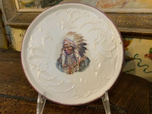 Antique American Pot Lid Indian Chief Decor Provenance on back