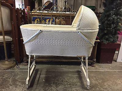 Antique Wicker Baby Bassinet  Baby Nursery Bed Basket Crib Cradle