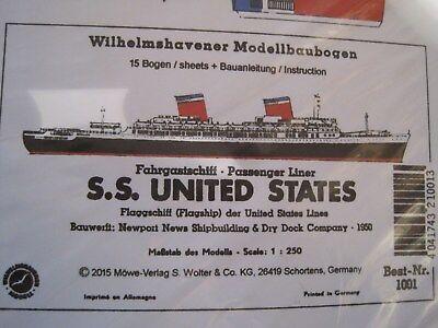 S.S. United States Wilhelmshavener Modellbaubogen Bastelbogen Kartonmodell