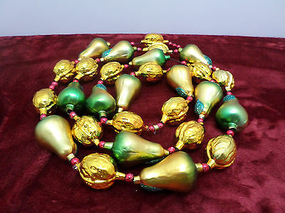 Christmas Tree Garland Radko? Glass Fruit Gold Walnuts Green and Silver Pears