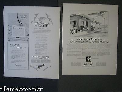 Lot of Two Vintage 1930 Detroit Aircraft Original Print Ads