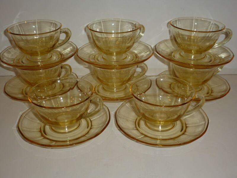 Vintage Fostoria Fairfax Set 8 Topaz (Yellow) Depression Glass Cups/Saucers