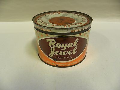 Vintage Royal Jewel Coffee Tin Can Advertising Container 1 Lb Pound (A4)