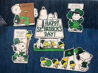 Vintage Peanuts St. Patrick's Day Die Cut  Paper Press-outs Hallmark Lot of 5